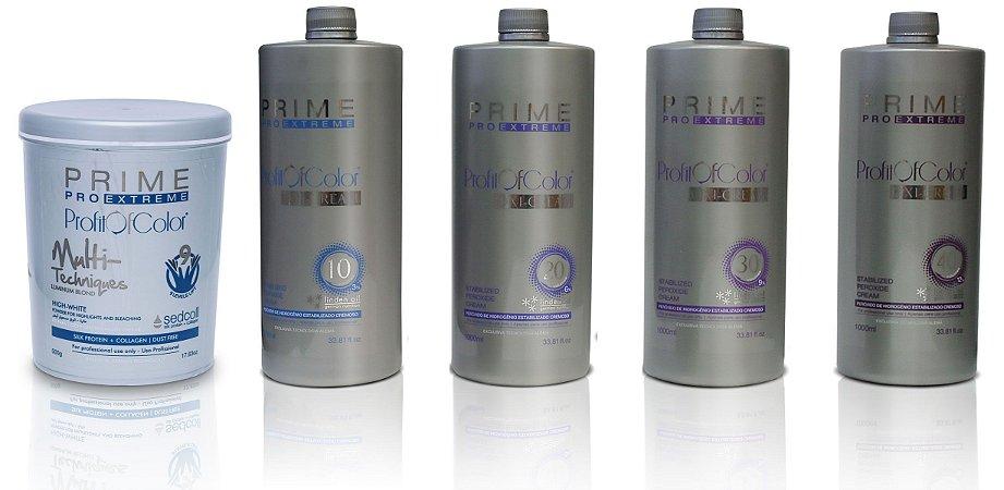 Pó Descolorante Profit of Color Multi-Techniques Luminum Blond 9 tons 500g + OX 10, 20, 30, 40 Volumes 900ml - Prime Pro Extreme
