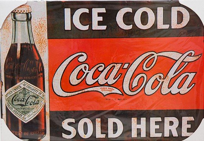 Placa Decorativa Retrô - Ice Cold Coca Cola Sold Here