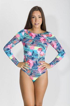 Body Proteção UV - Manga Longa - Flordolago - Rosa Tropical