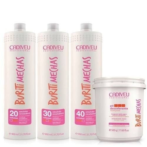 Kit Cadiveu Buriti Mechas Emulsão Reveladora 20,30,40 900ml + Pó Descolorante 500g