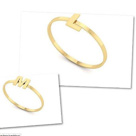 anel letras em ouro amarelo e branco