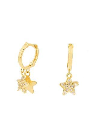 Argola em ouro estrela dupla