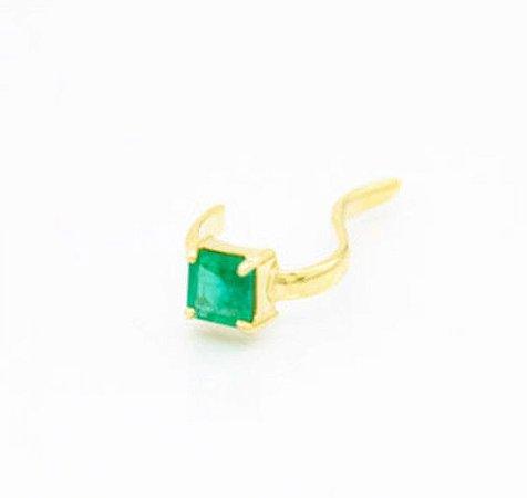 Piercing em ouro amarelo 18K com esmeraldas