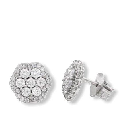 brinco flowers em ouro branco 18k com diamantes