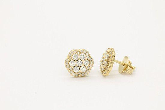 Brinco flower em ouro amarelo com diamantes