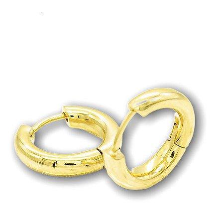 argola duo lisa em ouro amarelo 18K