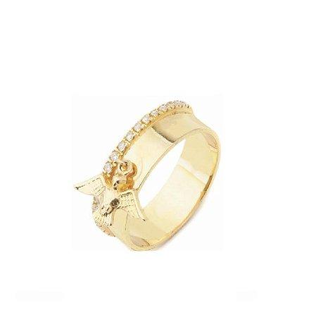 Anel Ouro Amarelo 18k Divino Espírito Santo com Diamantes