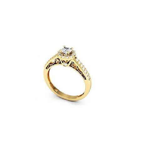 Anel Princess em ouro amarelo 18K com Diamantes