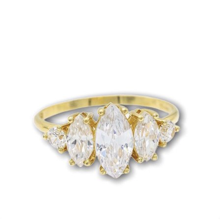 anel navete topazio em ouro amarelo 18K