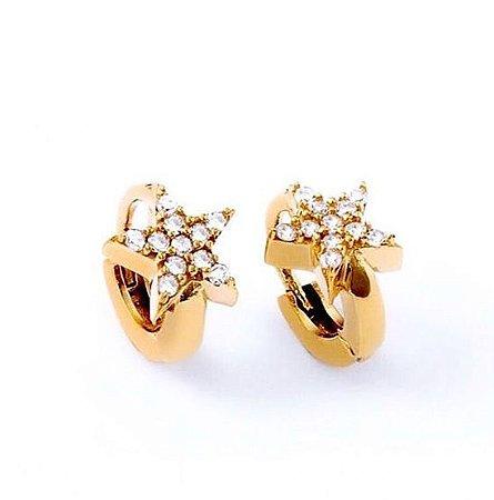 Argola ouro amarelo Star com diamantes