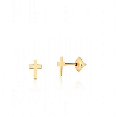 Brinco  Cruz PP em ouro amarelo 18K