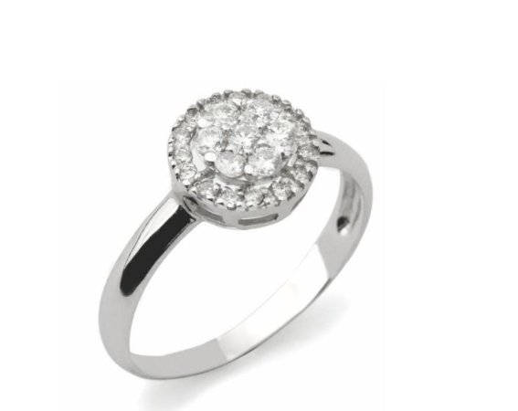 Anel modelo chuveiro em ouro branco 18k com diamantes