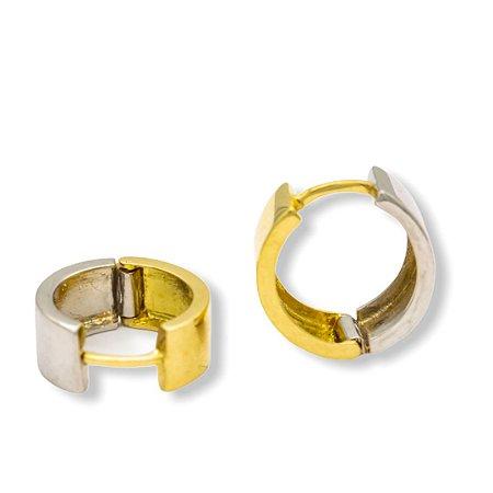 Argola duo em ouro branco/ amarelo