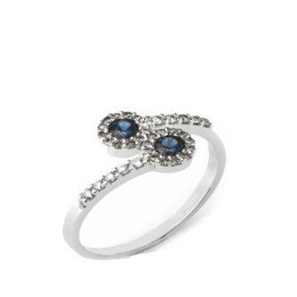 anel ouro branco 18k com safiras e diamantes