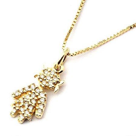 Gargantilha Família em ouro amarelo com diamantes( menina)