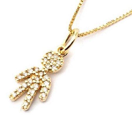 Gargantilha família em ouro amarelo com diamantes ( menino)