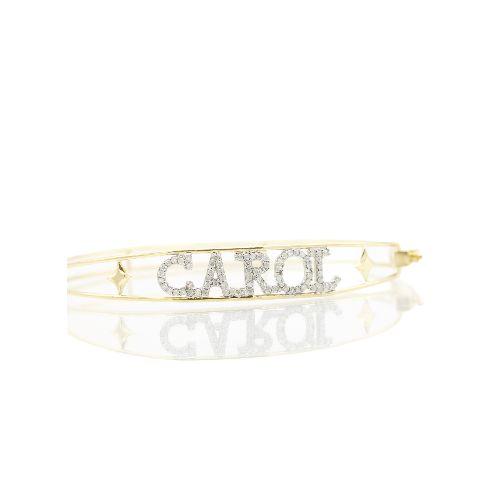 Pulseira Personalizada com diamantes e aro em ouro amarelo 18k