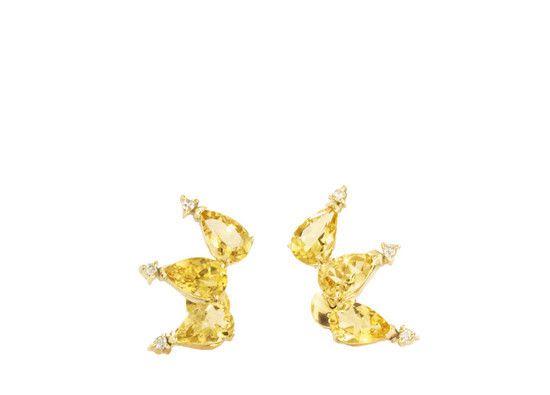 Earcuff em Golden Beryl em ouro amarelo 18k com diamantes