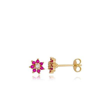Brinco flor PP ouro amarelo 18K com rubis e diamantes
