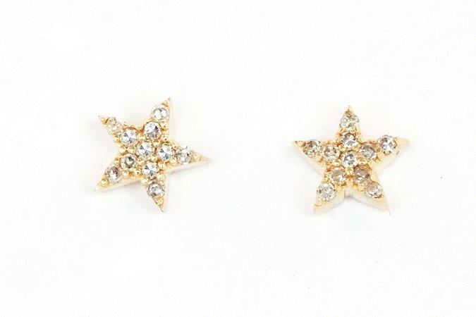 Brinco star em ouro (amarelo/branco) com diamantes