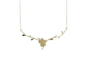 Gargantilha cerejeira em ouro amarelo 18k com diamantes