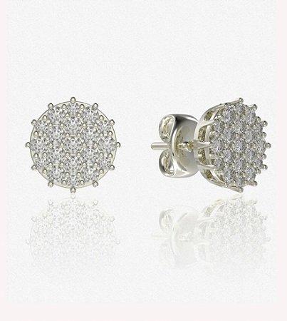 Brinco chuveiro em ouro branco 18k com diamantes