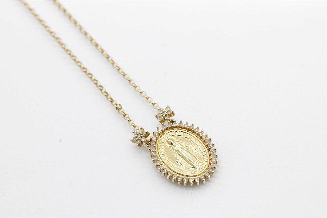Gargantilha em ouro amarelo 18k com diamantes