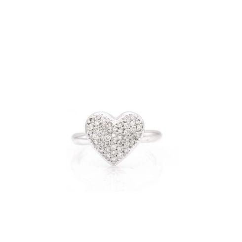 Anel love em ouro branco 18k com diamantes