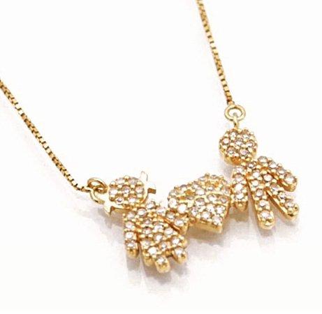 Gargantilha família em ouro 18k com diamantes