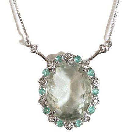 Gargantilha em ouro 18k com diamantes, Esmeraldas, peridoto