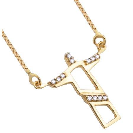 Gargantilha em ouro 18k com diamantes proteção