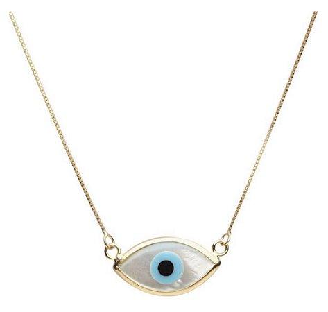 Gargantilha olho grego em ouro amarelo 18k