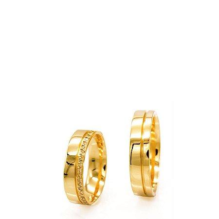 Aliança (Par) em ouro amarelo com diamantes