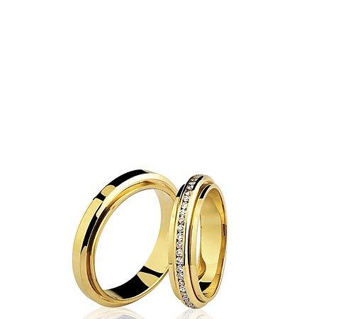 Aliança (Par) em ouro amarelo 18k em diamantes