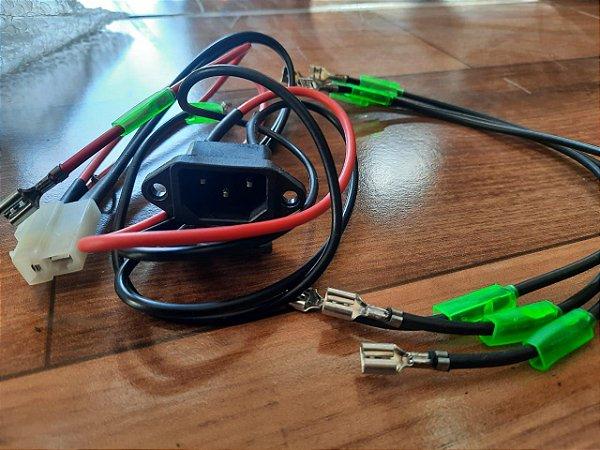 Tomada Tripolar C/Chicote Mais Fios P/Bateria Bicicleta Elétrica Duos