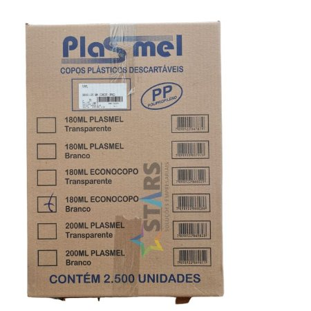Copo descartavel cx 180 ml Econocopo  Branco c/2.500  Plasmel