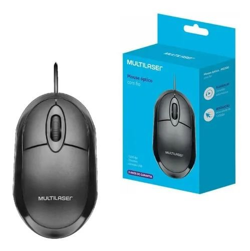Mouse com Fio Multilaser MO255 Preto