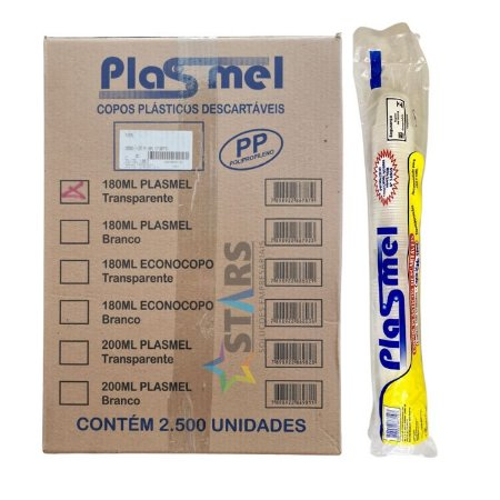Copo descartavel cx 180 ml transp 1x2500 PP - plasmel