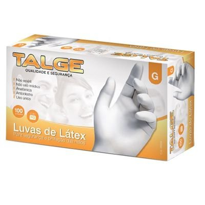 LUVA DE LÁTEX C/PÓ NÃO CIRÚRGICA TALGE C/ 100 UND