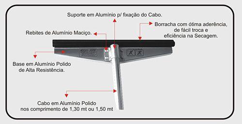 RODO ALUMÍNIO 100 CM COM CABO DE 1,5M TROCA REFIL