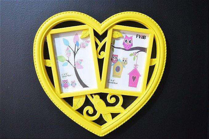 Porta Retrato Duplo de parede Coração Amarelo