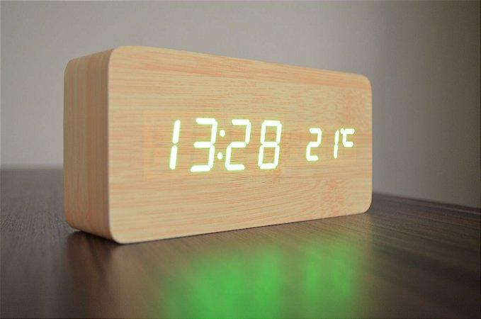 Relógio Despertador Madeira Bamboo