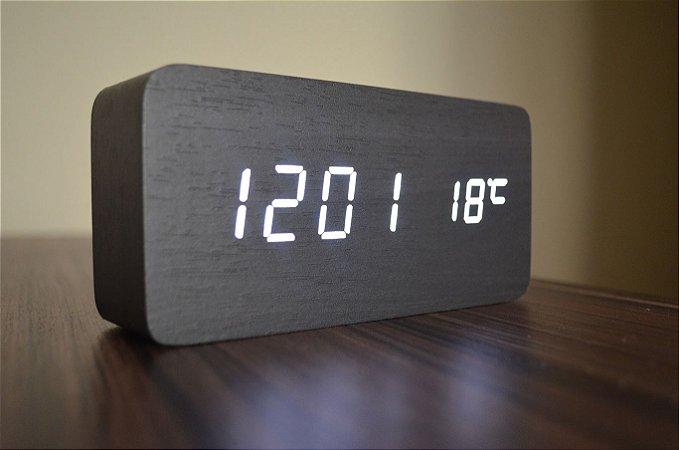 Relógio Despertador Madeira Preto Led Branco