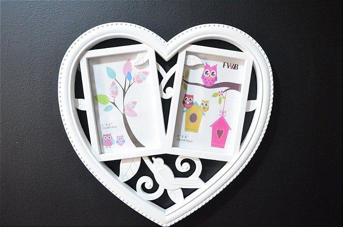Porta Retrato Duplo de parede Coração Branco