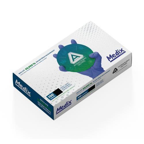 Luva Nitrílica Antimicrobiana Azul Violeta AMG S/ Talco - Caixa c/ 100 unidades - Medix Tam: Médio