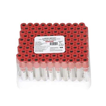 Tubo de Coleta de Sangue a Vácuo 4ml Vermelho 4ml Pct com 100 - LaborImport