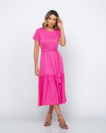 Vestido Malha Midi Maite Rosa