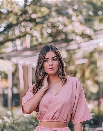 Cropped Linho Sabrina Rose