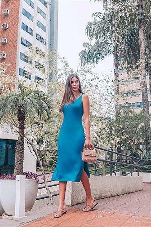 Vestido Mayla Azul Petroleo