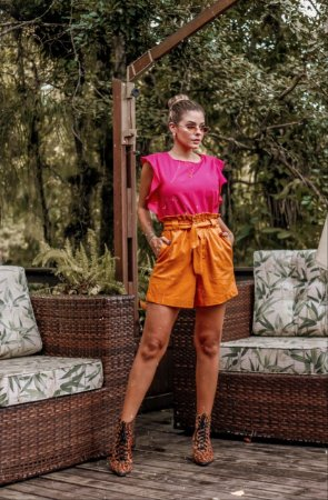 Blusa Beatriz Pink em Crepe Lugano